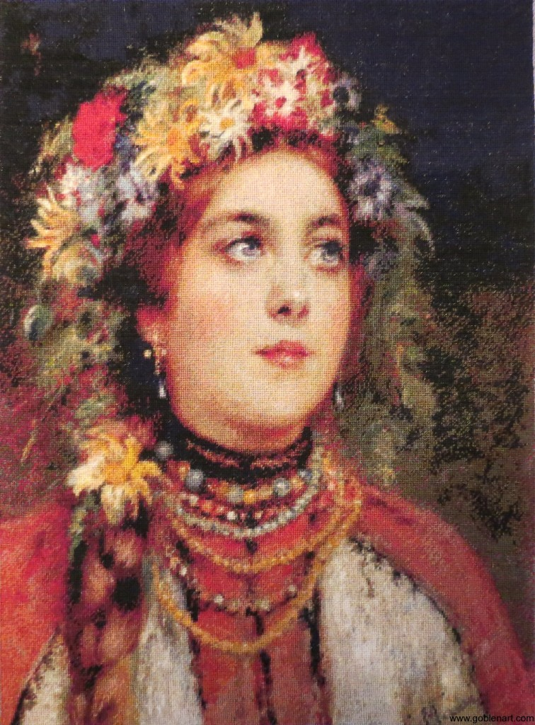 Russian beauty in summer garland