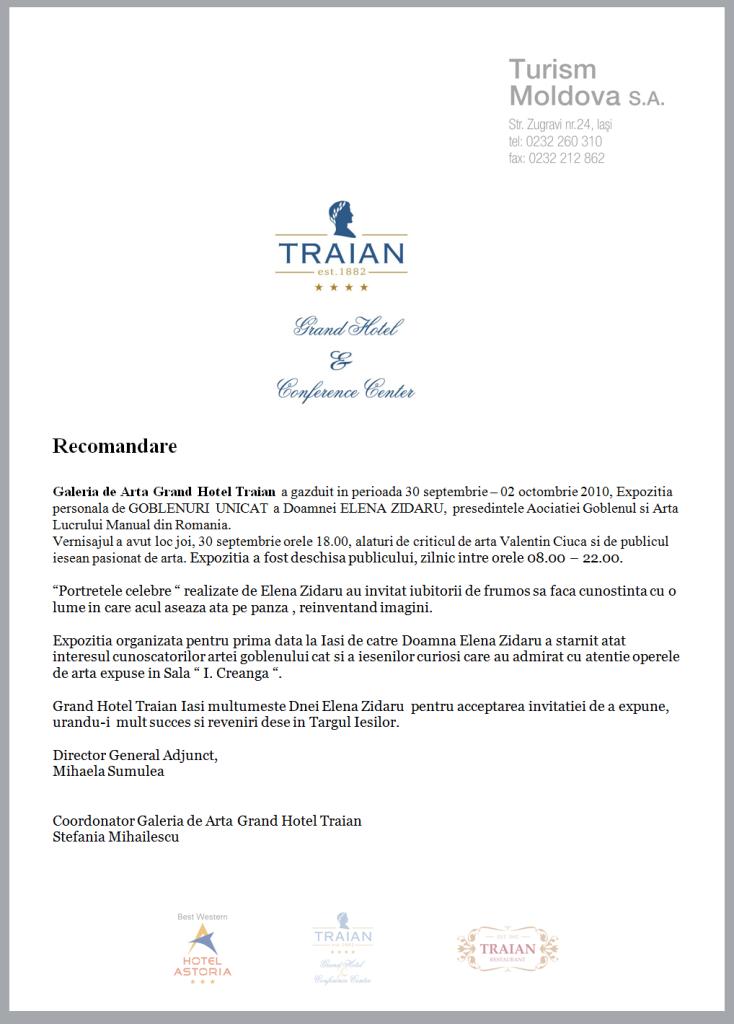Recomandare Galeria de Arta Grand Hotel Traian