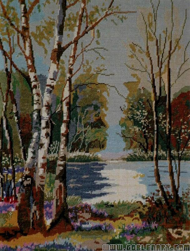 Lake with birch trees