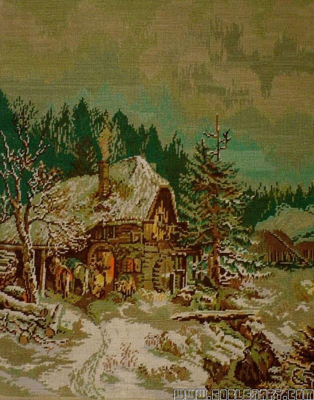 Winter landscape with smithy