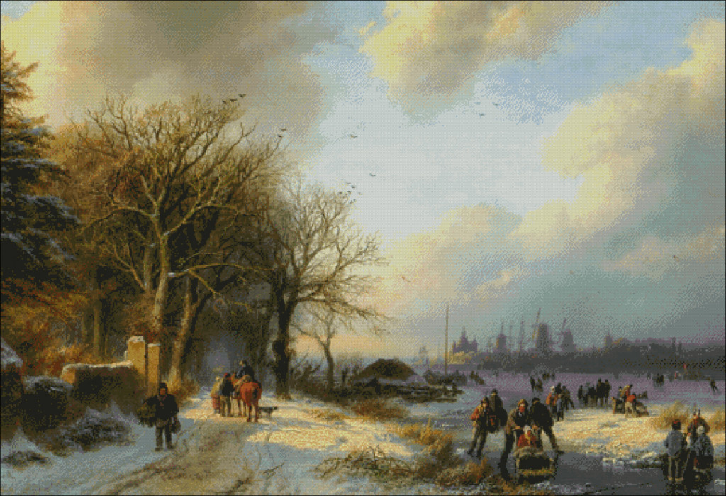 Skaters on Waterway - Barend C.Koekkoek