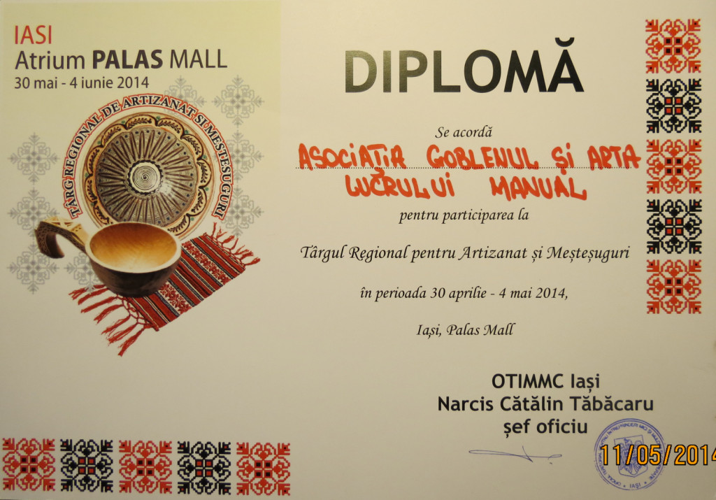 Diploma de participare Targul Regional De Artizanat si Mestesuguri, Iasi