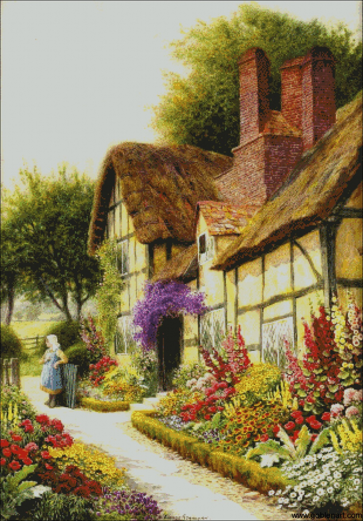 A cottage garden -Arthur C.Strachan