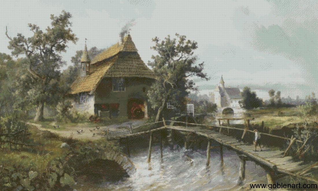 Blacksmiths Forge by the Stream - Carl Georg Koster