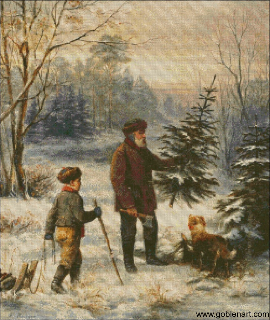 Father and son with their dog collecting a tr ee in the forest, Franz Krüger (1797–1857)