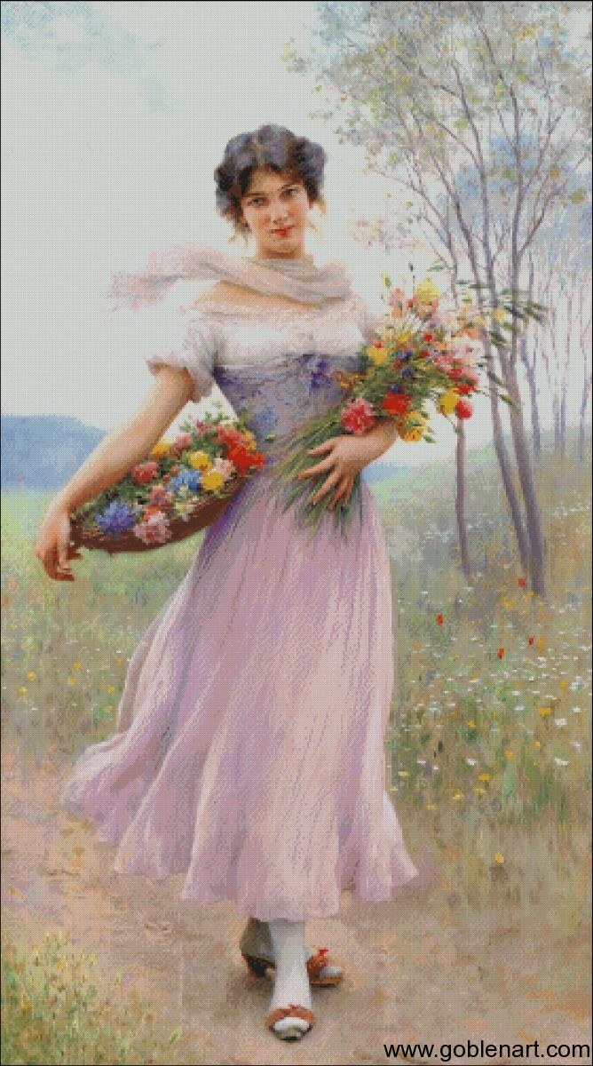 Girl in a lilac dress - Eugenede Blaas