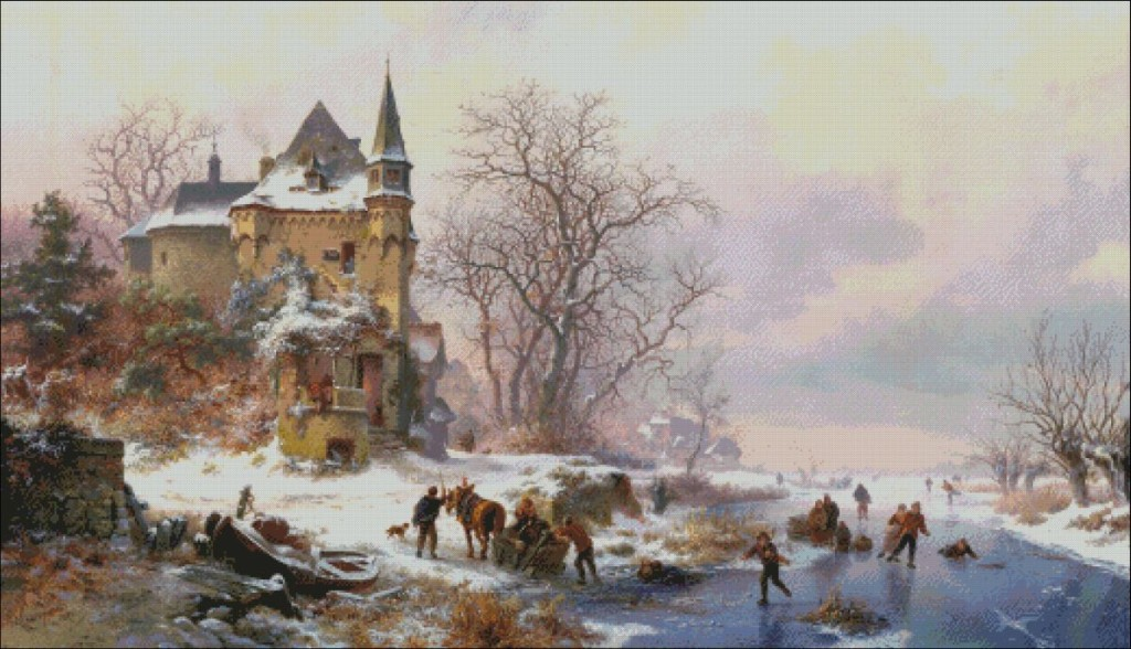 Winter landscape with skaters in front of a castle