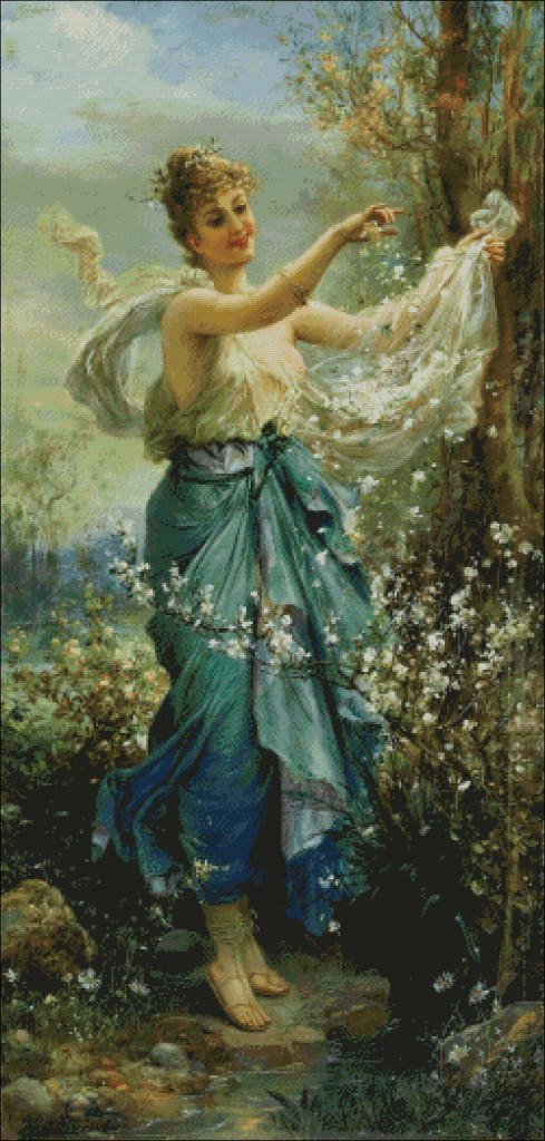 Girl with Flowers - Hans  Zatzka