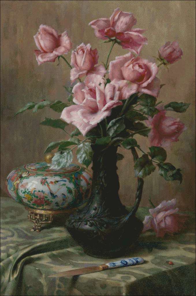 Pink Roses Pascal de Boucker (1861 - 1945)