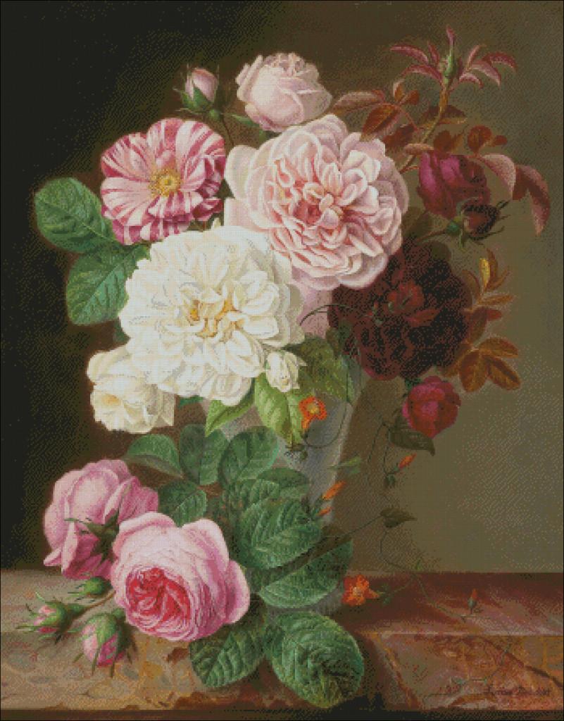 Still life roses - Louise  Dandelot