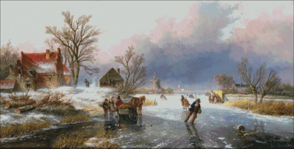 Dutch winter scene with skaters-   Jan Jacob Spohler