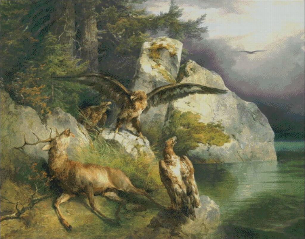 Eagles and dying deer -   F.Gauermann