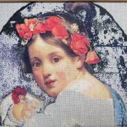 Girl wearing a poppy wreath – sewing period
