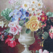 A still life study of roses, forget-me-nots and other flowers in an urn, resting on a stone ledge