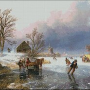 Dutch winter scene with skaters – advanced – free patterns, free charts / diagrame gratuite, scheme goblen gratis, modele goblenuri gratis