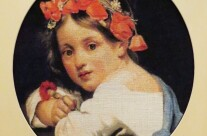 Girl wearing a poppy wreath