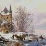 Winter landscape with skaters in front of a castle – intermediate – free patterns, free charts / diagrame gratuite, scheme goblen gratis, modele goblenuri gratis